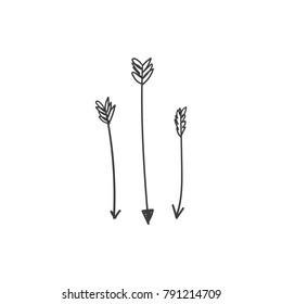 Vector, clip art. Hand drawn arrors. Decor elements, t-shirt, textile, print, card.
