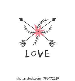Vector, clip art. Hand drawn arrors love label, sign. Decor elements, t-shirt, textile, print, card.