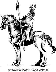Vector clip art illustration of an armored knight on a scary black horse with red eyes charging or jousting with a lance and shield.