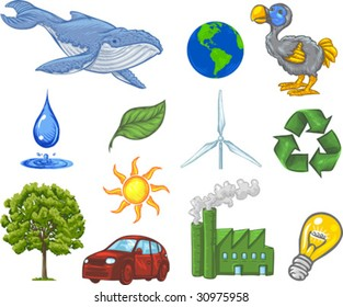 Vector, Clip Art illustration of ecology icons including earth, sun, wind, water, recycling symbol, tree, blue whale, dodo bird and green leaf. Hand drawn artwork with NO gradients.