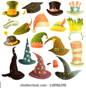 Vector clip art illustrations of hats and caps isolated on white background. Scratches can be easily removed