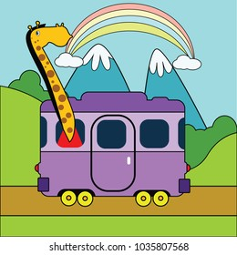 vector clip art for kids education of giraffe riding a bus on the street