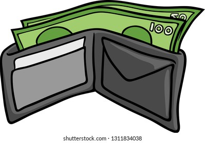 Vector clip art of a leather wallet with money.