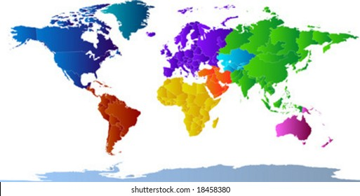 Vector Clip Art Map Of The World, With All Countries And Borders Showing.  Continents