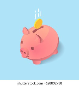 A vector clip art of moneybox in the form of a pig with a coin falling into it. Concept of saving money in isometric 3D style and flat design.