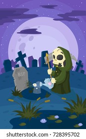 vector clipart Death that watering flowers