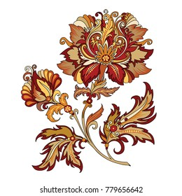 vector clipart decorative abstract red flower with oriental style, beautiful vintage colored illustration of a branch of flowers in baroque style
