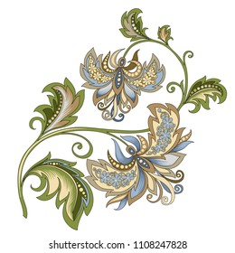 vector clipart decorative vintage gold and blue flower with oriental style on a white background, beautiful pastel vintage colored illustration of a branch of flowers in baroque style