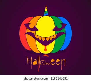 vector clipart Halloween pumpkin in the form of a shark