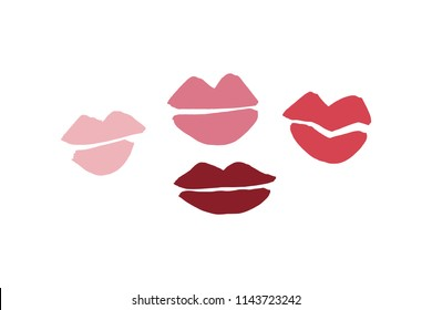 Vector, clipart. Hand drawn lips kiss silhouette, sketches, symbols. Decor elements set for your design.