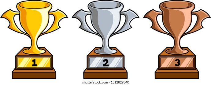 Vector clipart illustration of a golden, silver and bronze trophy cup symbols.