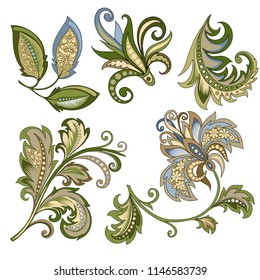 vector clipart set of decorative flowers with leaves in oriental style on white background, beautiful pastel vintage colored illustration of a branch of flowers in baroque style for design