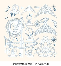 Vector clipart with a vintage navigational tool