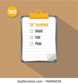 Vector clipboard with  check marks . Flat design