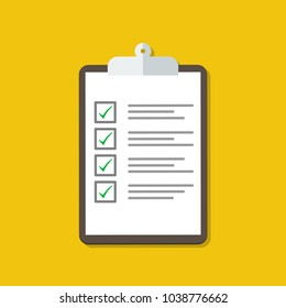 Vector Clipboard with Checklist. Flat design. Stock vector