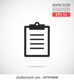 Vector clipboard icon. Black icon. Modern flat design vector illustration, quality concept for web banners, web and mobile applications, infographics. Vector icon isolated on gradient background