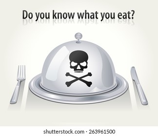 Vector Cloche, Fork and Knife with Skull & Crossbones