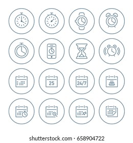 Vector clock and calendar simple outline icon set in circle.