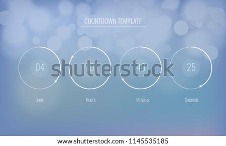 vector clock countdown template application bokeh stock vector