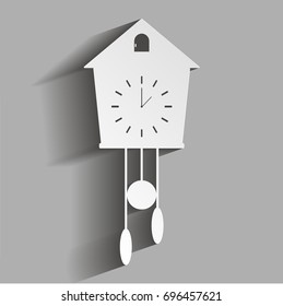 Vector clock icon with cuckoo with shadow design. Home Appliances