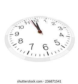 Vector clock isolated on white. Nearly twelve. View from above and one side.