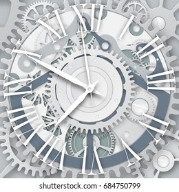 Vector clock with Roman numerals.  Clockwork mechanism. White gears with center on the gray background.