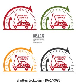 Vector : Clock Sign and Emergency Service 24Hour Tow Car Icon, Badge, Label or Sticker Isolated on White Background