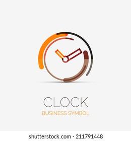 Vector clock, time company logo design, business symbol concept, minimal line style