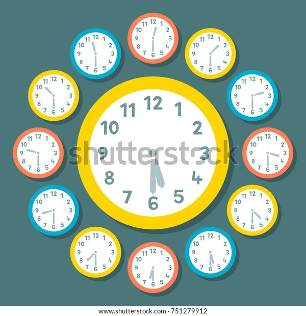 Vector Clocks Showing Half Past the Hour. Big Clock is Showing 5:30