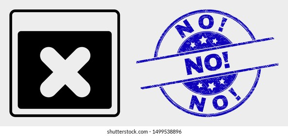 Vector close application window pictogram and No! stamp. Red round grunge seal stamp with No! text. Vector combination in flat style. Black isolated close application window pictogram.