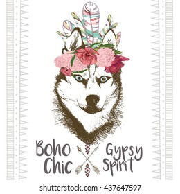 Vector close up portrait of siberian husky, wearing the indian feather headpiece. Hand drawn domestic dog illustration. Traditional boho chic  decoration, with aztec arrows, feather and flowers.