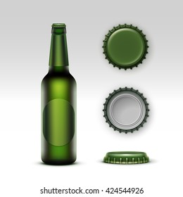 Vector Closed Blank Glass Transparent Creen Bottle of  Light Beer with Green label and  Set of Caps Side Top Back View for Branding Close up Isolated on White Background