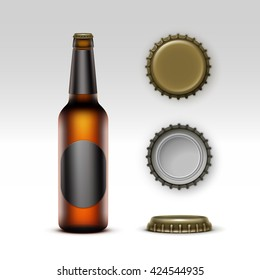 Vector Closed Blank Glass Transparent Brown Bottle of  Light Beer with  Black label and  Set of Caps Side Top Back View for Branding Close up Isolated on White Background