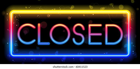 Vector - Closed Neon Sign Rainbow Color
