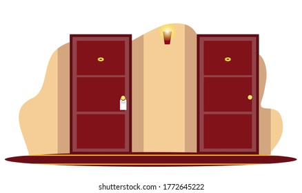 Vector closed wooden numbered hotel room door in hallway with hanged burning glowing light bulb on wall. Luxury corridor interior design. Condominium accommodation indoor. Residential apartment