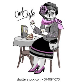 Vector clothing owl in cafe. Owl cafe. Owl in grey baret with cake and coffee.