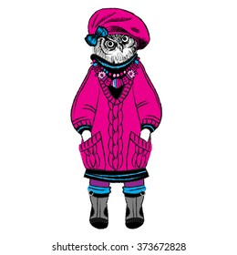 Vector clothing owl. Owl in a pink barret and pullover