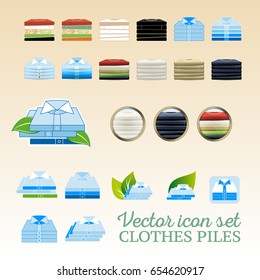 Vector clothing piles flat and realistic icon set with leaves and shadows. T-shirt piles and undervest piles in different colors. Suitable for washing powder box or print instruction.