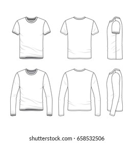 Vector clothing templates. Blank shirts with short and long sleeves.