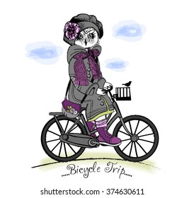 Vector clothing white owl with bicycle. Owl girl in a gray beret and violet scarf. Bicycle trip.