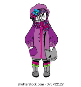 Vector clothing white owl with grey handbag, violet beret and pink scarf.