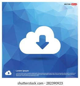 Vector cloud computing Download icon - abstract logo type icon - blue polygonal background. Vector illustration