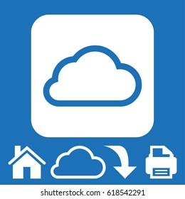 Vector cloud computing download icon, vector illustration