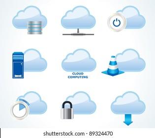 Vector cloud computing icon set