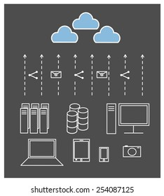 vector of cloud computing technology concept and share data