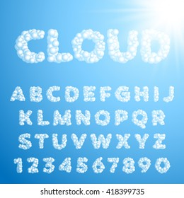 Vector cloud font on a blue sky background. Sans-serif fontface for your design. Latin alphabet from A to Z in capital letters.