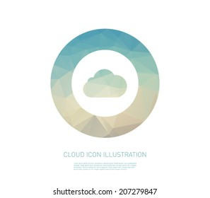 Vector cloud icon illustration with polygonal background. Clean and modern style design