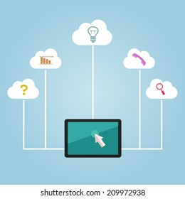 Vector cloud infographic with monitor and different elements on blue background