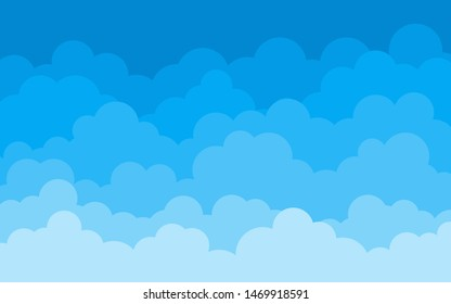 Vector cloud on blue sky abstract background in blue tones.