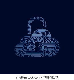Vector cloud security concept. Circuit board cloud as a padlock